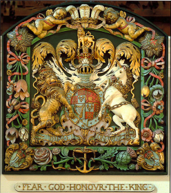 A photo of the coat of arms of King James II in St Mary's, West Malling